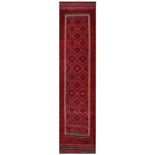 Semi-antique Afghan Hand-knotted Tribal Balouchi Red/ Navy Wool Rug (2'1 x 8'11)