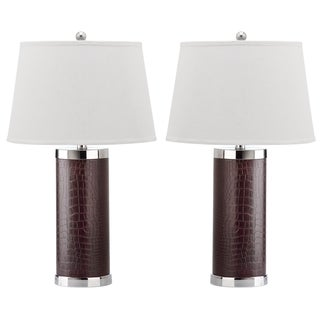 Safavieh Indoor 1-light Croc Brown Leather Column Table Lamp (Set of 2)