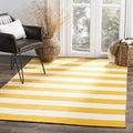 Safavieh Hand-woven Montauk Yellow/ White Cotton Rug (8' x 10')