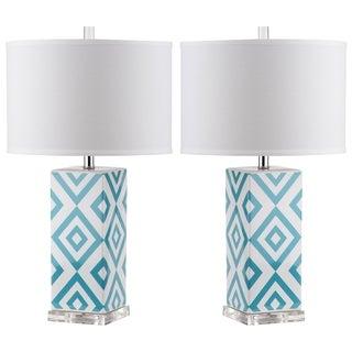 Safavieh Indoor 1-light Light Blue Diamonds Table Lamp (Set of 2)