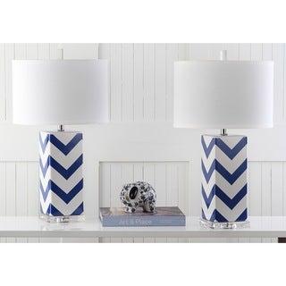 Safavieh Indoor 1-light Navy Chevron Stripe Table Lamp (Set of 2)