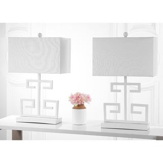 Safavieh Indoor 1-light White Greek Key Table Lamp (Set of 2)
