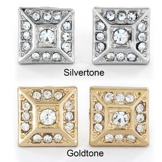 West Coast Jewelry Silvertone or Goldtone Micro Pave Crystal Square Pyramid Stud Post Earrings
