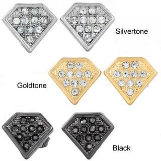 West Coast Jewelry Silvertone, Goldtone, or Black Micro Pave Crystal Stud Post Earrings
