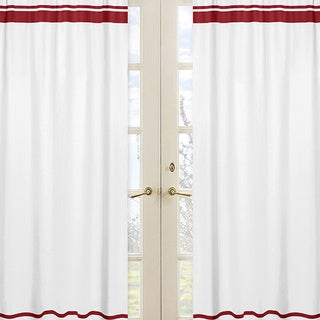 Sweet Jojo Designs Hotel Collection White/Red Modern Curtain Panel Pair