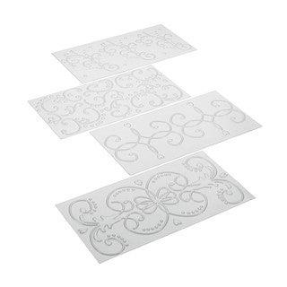 Cake Boss Clear Decorating Tools 4-Piece Classic Fondant Imprint Mat Set