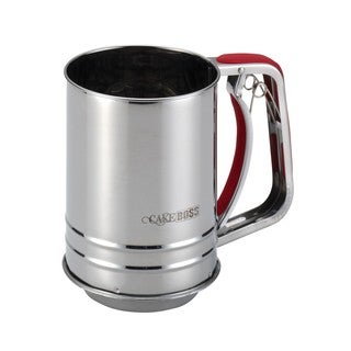 Cake Boss Stainless Steel Tools and Gadgets 3-Cup Flour Sifter with Red Silicone Grips