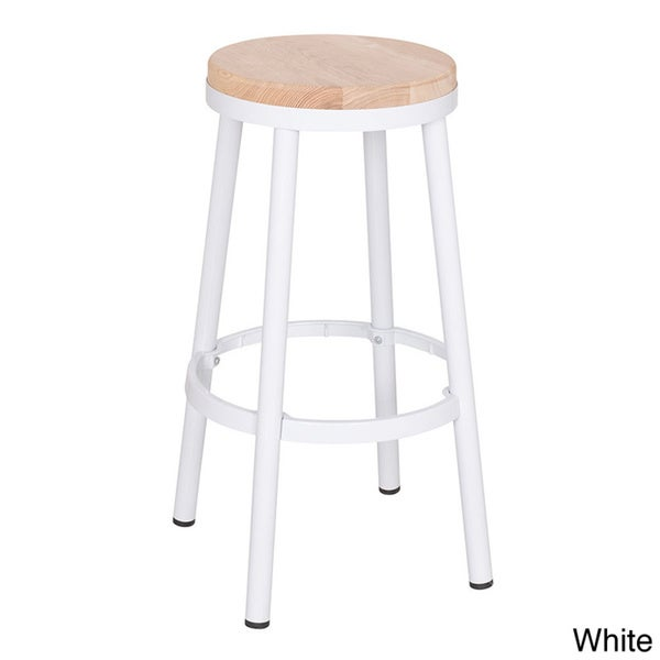 Modern 30 Inch Round Backless Metal Barstool With Footrest