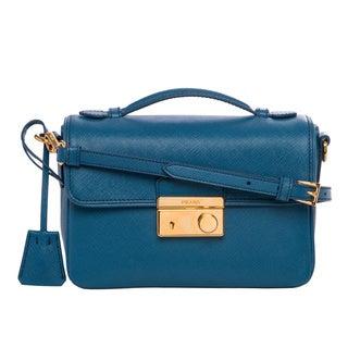 Prada Small Cobalt Blue Saffiano Leather Crossbody