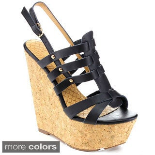 Blossom Plum-15 Women's Strappy Cork Platform Wedge Sandals