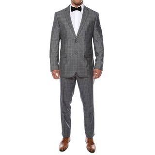 Zonettie by Ferrecci Men's Slim Fit Grey Plaid 2-piece Suit