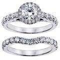 14k/ 18k Gold or Platinum 3ct TDW Round Diamond Bridal Ring Set (F-G, SI1-SI2)