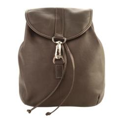 Piel Leather Medium Drawstring Backpack 3019 Chocolate Leather