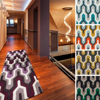 Hand-tufted Geometric Contemporary Runner Rug (2'6 x 8')