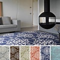 Hand-Tufted Floral Contemporary Round Area Rug-(8' Round)