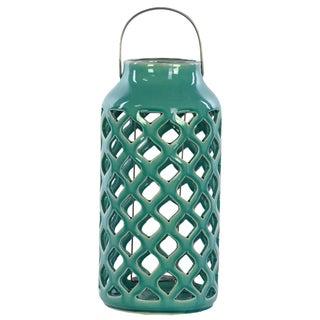13 inches High Ceramic Lantern Turquoise