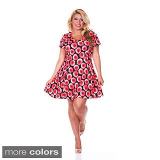 White Mark Women's Plus Size 'Flower Fusion' Fit-and-Flare Dress