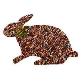 ARTAJUL Handmade Kids Red Confetti Bunny-shaped Eco-friendly Felted Wool Accent Rug (4' x 6')