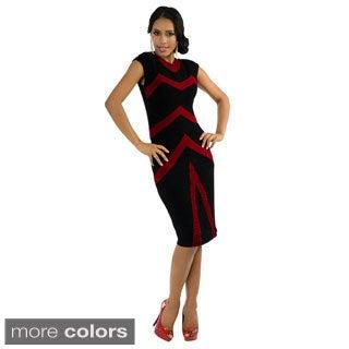 Women's 'Kayla' Two-tone V-strip Evening Dress
