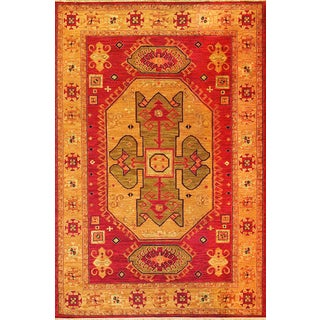 Hand-Woven Indo Kazak Orange/ Red Wool Area Rug (4' x 6')