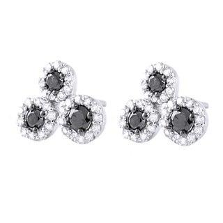 Beverly Hills Charm 10k White Gold 2/5ct TDW Black/ White Diamond Earrings (H-I, I2-I3)