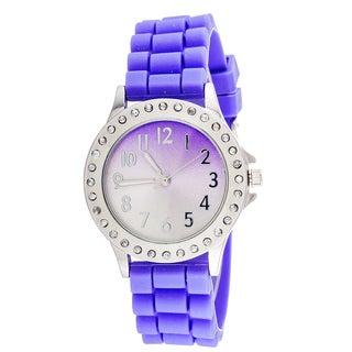 Glitz Round Purple Rubber CZ Watch