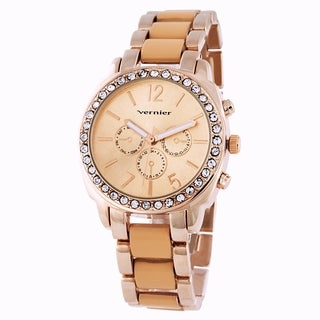 Vernier Women's Stone Bezel Rose Goldtone Resin Link Watch