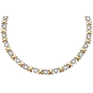 PalmBeach Gold Overlay 1/10ct TDW Diamond Accent X and Heart Necklace (I-J, I2-I3)