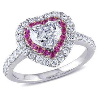14k White Gold Pink Sapphire and 1 1/2ct TDW Diamond Heart Ring (H-I, SI1-SI2)