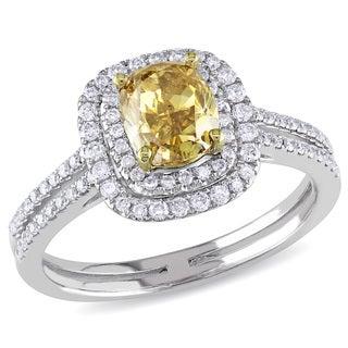 Miadora 14k Gold 1 1/2ct TDW Certified Yellow Cushion Cut Diamond Ring (I1-I2) (GIA)