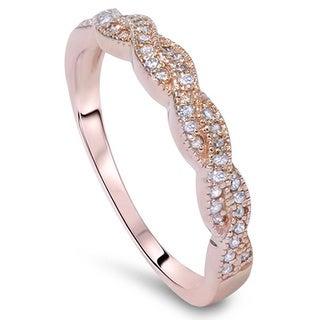 Bliss 14k Rose Gold 1/5ct TDW Vintage Braided Diamond Band (G-H, I1-I2)