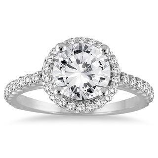 14k White Gold 1 1/8ct TDW Diamond Halo Engagement Ring (H-I, SI2-SI3)