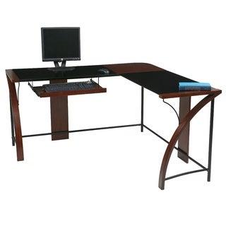 Home Office Glass-top Corner Desk wiith L-Shape Workstation