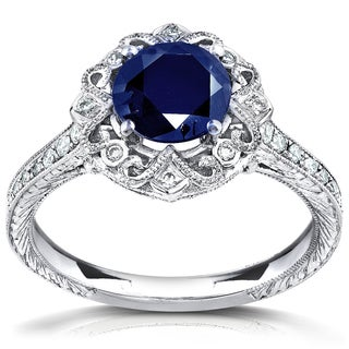 Annello 14k White Gold Round Blue Sapphire and 1/5ct TDW Diamond Antique Style Ring (G-H, I1-I2)
