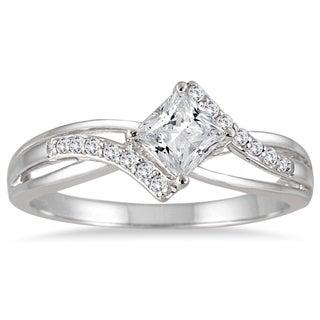 10k White Gold 1/2ct TDW Princess-cut Diamond Ring (H-I, I1-I2)