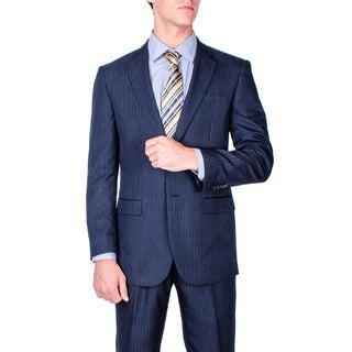 Men's Navy Blue Stripe 2-button Modern-fit Suit