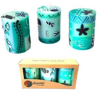 Set of Three Boxed Hand-painted Mini-Pillar Candles with Samaki Design (Set of 3) (South Africa)