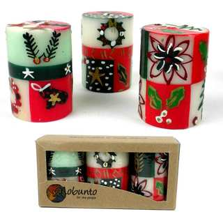 Set of Three Boxed Hand-painted Mini-Pillar Candles with Ukhisimui Design (Set of 3) (South Africa)