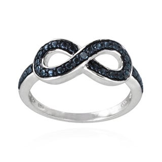 DB Designs Sterling Silver Blue Diamond Accent Infinity Ring