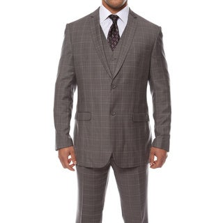Zonettie by Ferrecci Men's Custom Slim Fit Charcoal Grey Plaid 3-piece Vested Suit