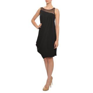 ASA Angel Sanchez Women's Black Lace Crepe Evening Dress