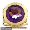 18k Goldplated Brass Round-cut Gemstone Victorian Style Ring