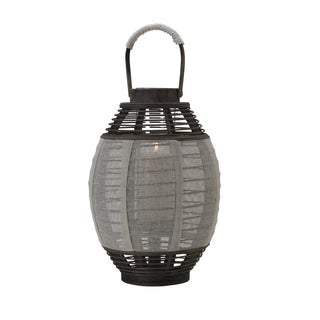 Elements 17-inch Cream Jute-wood Lantern