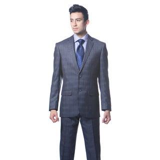 Zonettie by Ferrecci Men's Custom Slim Fit 2-piece Navy Blue Plaid Suit