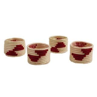 Set of 4 Red/ White Sisal Napkin Rings (Rwanda)