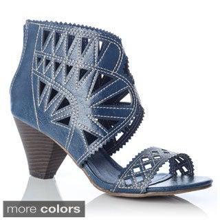 NY VIP Women's Laser Cut 2-piece Stacked Heel Sandals