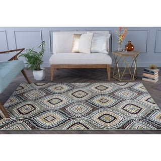 Caprice Blue Contemporary Area Rug (8' x 10')