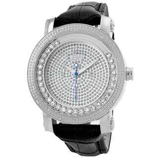 JBW Men's 'Hendrix' Stainless Steel Multi-function Leather Diamond Watch