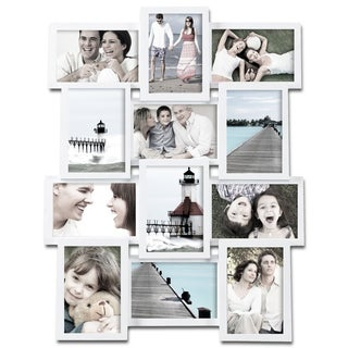 Adeco 12-photo Collage White Wood Picture Frame