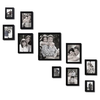 Adeco Decorative Black Wood Wall Hanging/ Table Top 10-piece Photo Frame Set